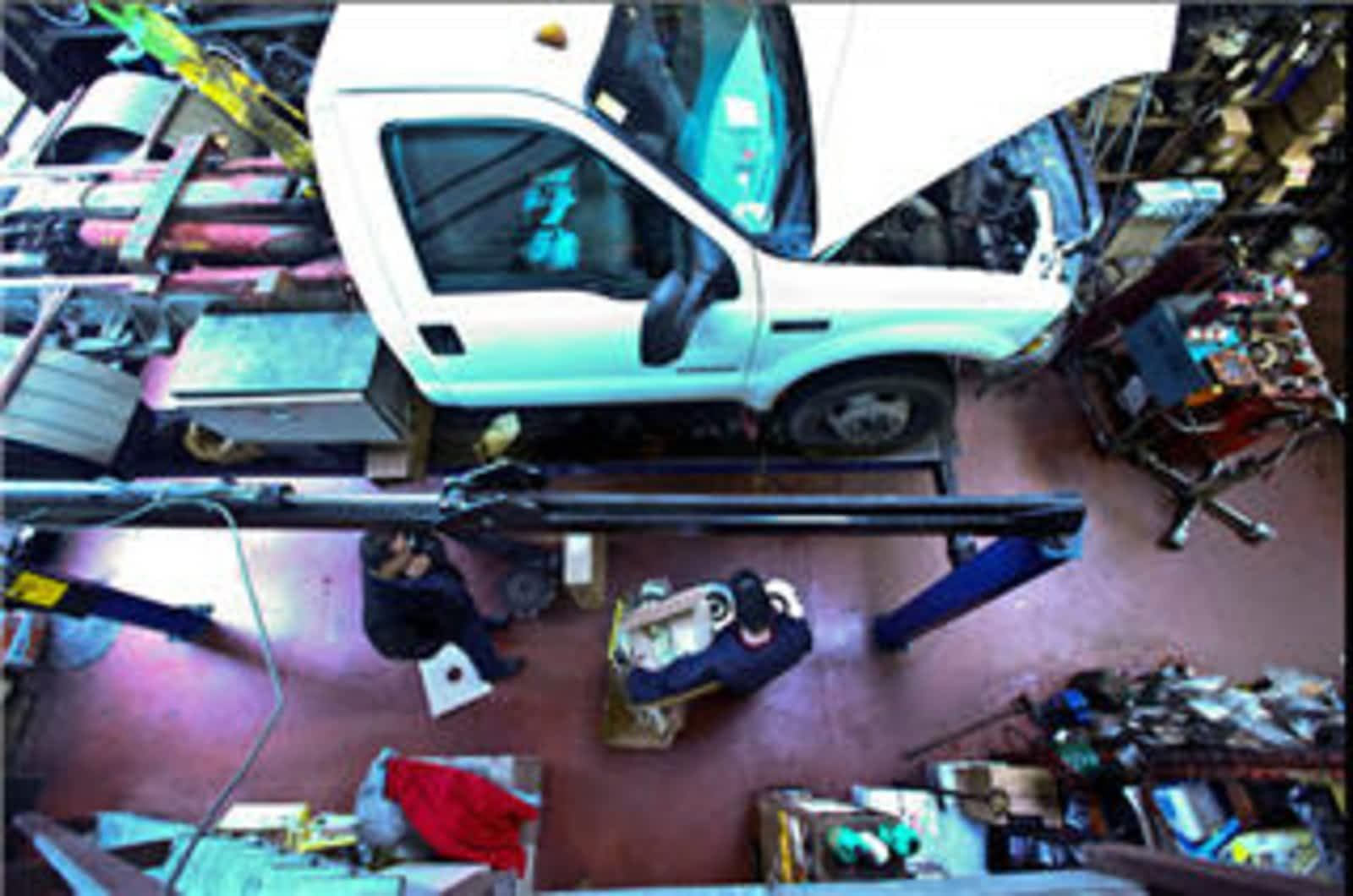 aerial view of a auto shop