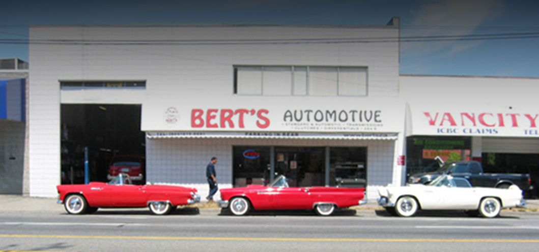 store front of Bert's Automotive Transmissions